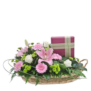 Double Delight Basket of Flowers and Chocolates